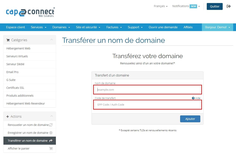 Transfert d'un nom de domaine