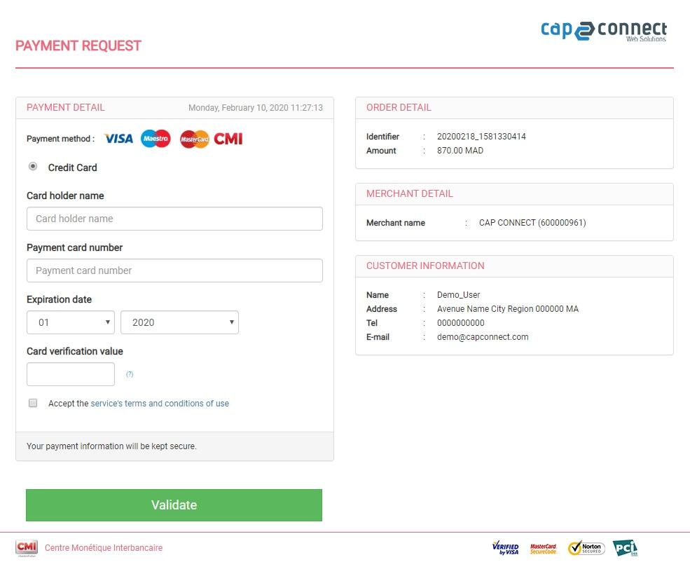 Paiement en ligne Cap Connect
