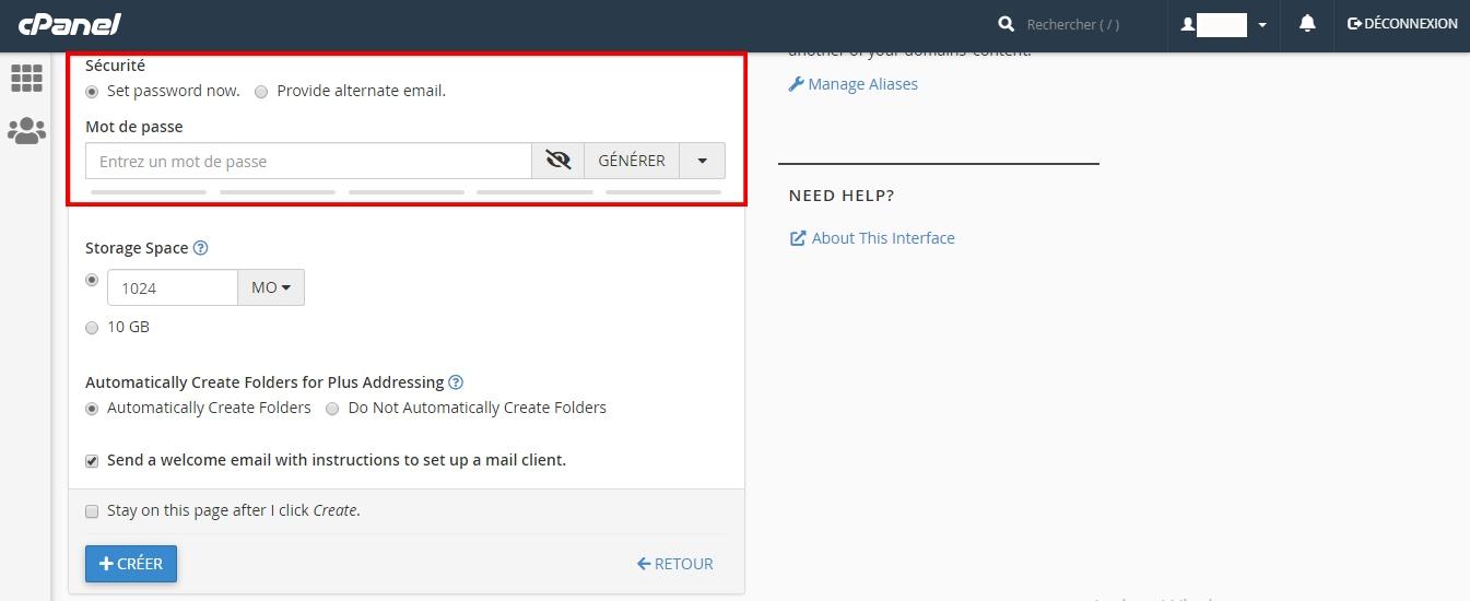 Créer une adresse e-mail sur cPanel