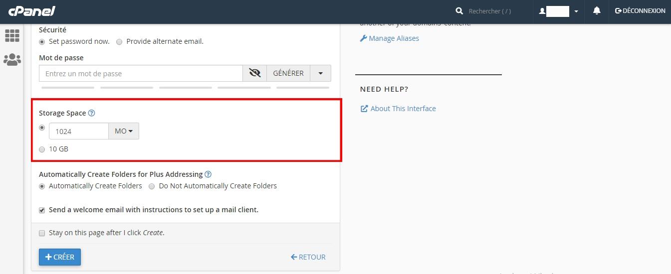 Créer adresse email sur cPanel