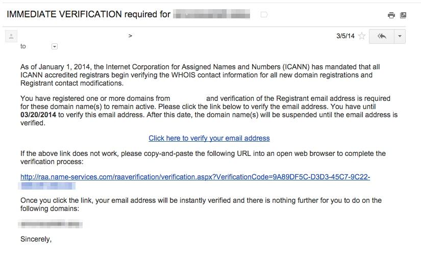Email de vérification ICANN