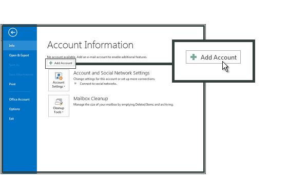 Ajouter Compte sur Microsoft Outlook 2013