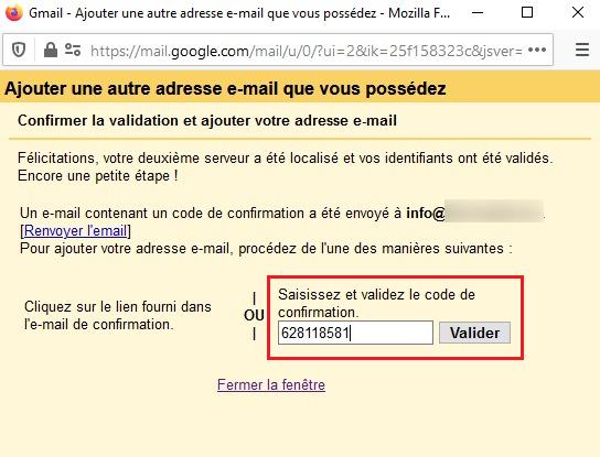 Code de confirmation Gmail
