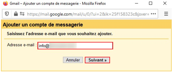 Ajouter adresse email Gmail