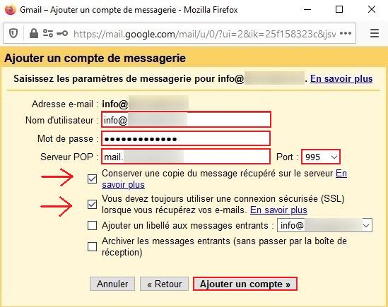 Serveur Entrant sur Gmail