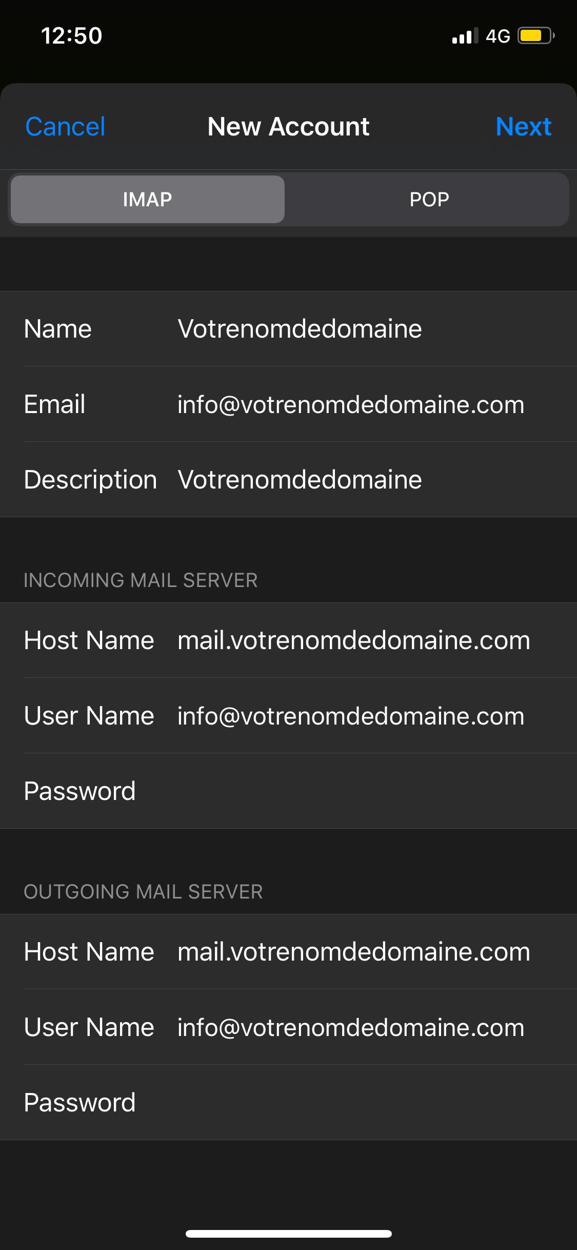 Créer compte email sur Apple avec nom de domaine