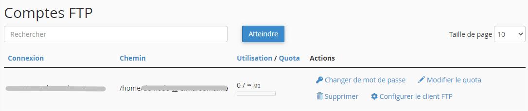 Gérer un compte FTP