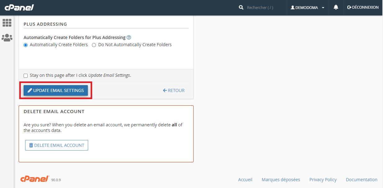 Compte email nouveau mot de passe cPanel