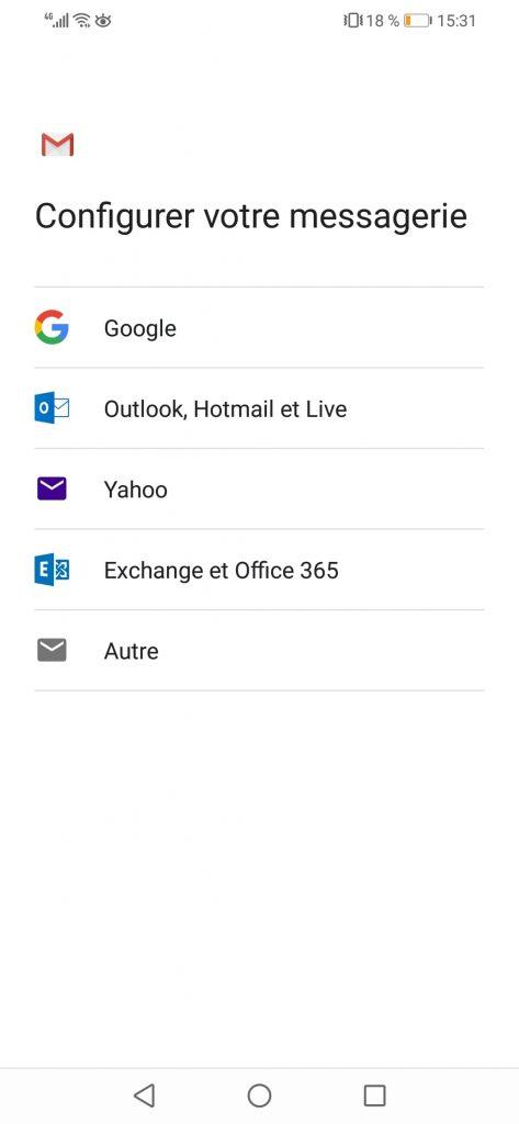 Configurer Email sur Android