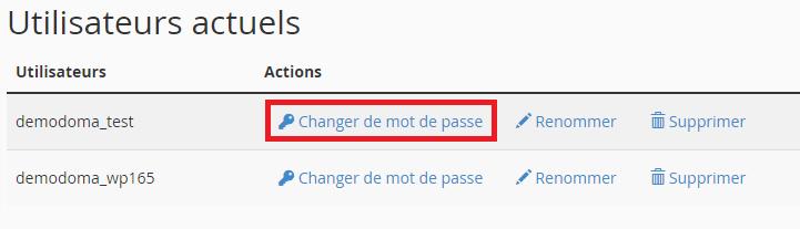Changer mot de passe de l'utilisateur MySQL
