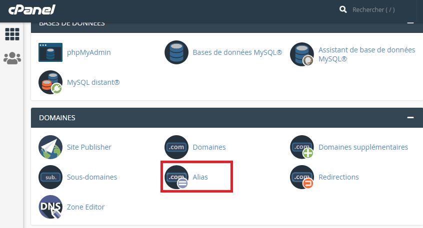 Créer un domaine alias sur cPanel