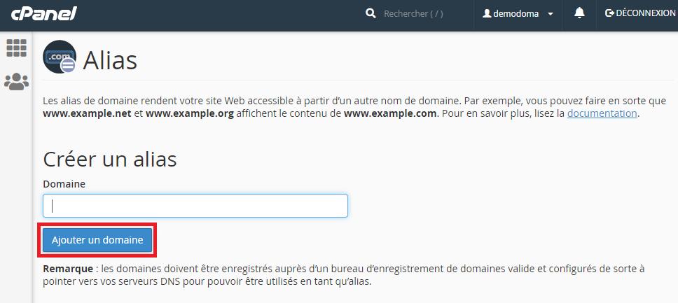 Ajouter un alias pour nom de domaine sur cPanel