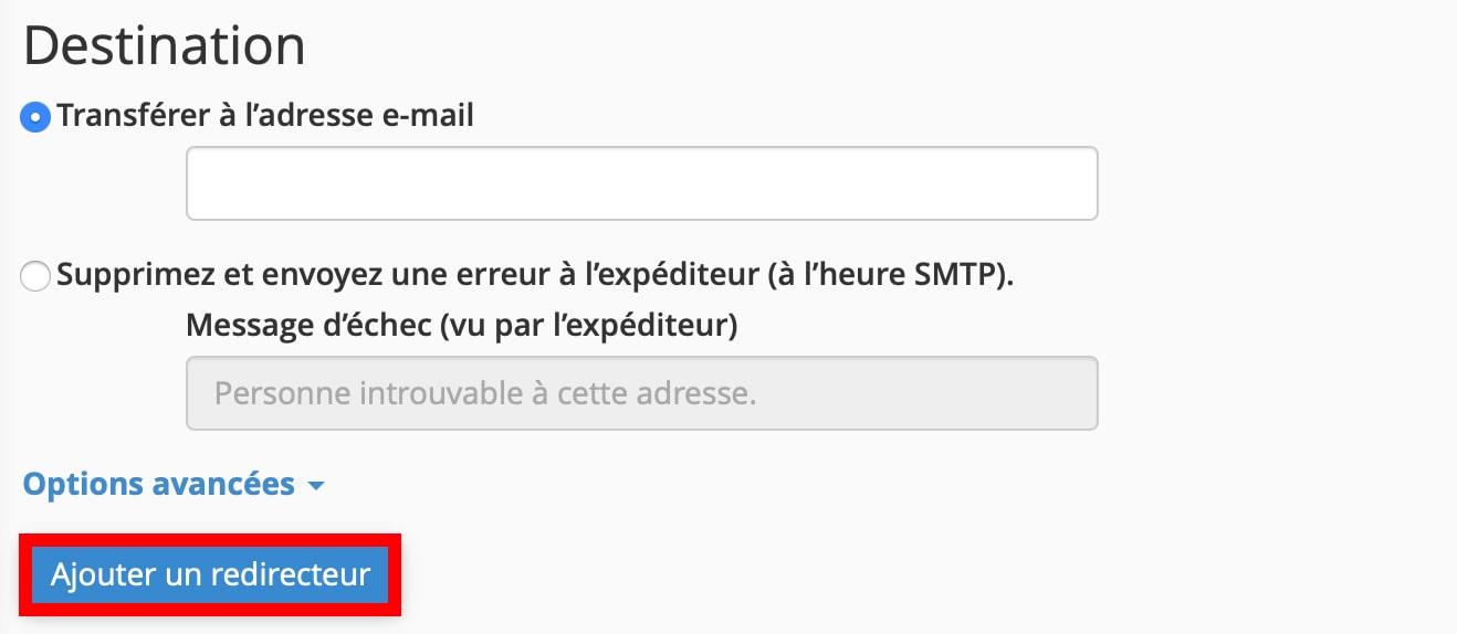 Rediriger une adresse email cPanel