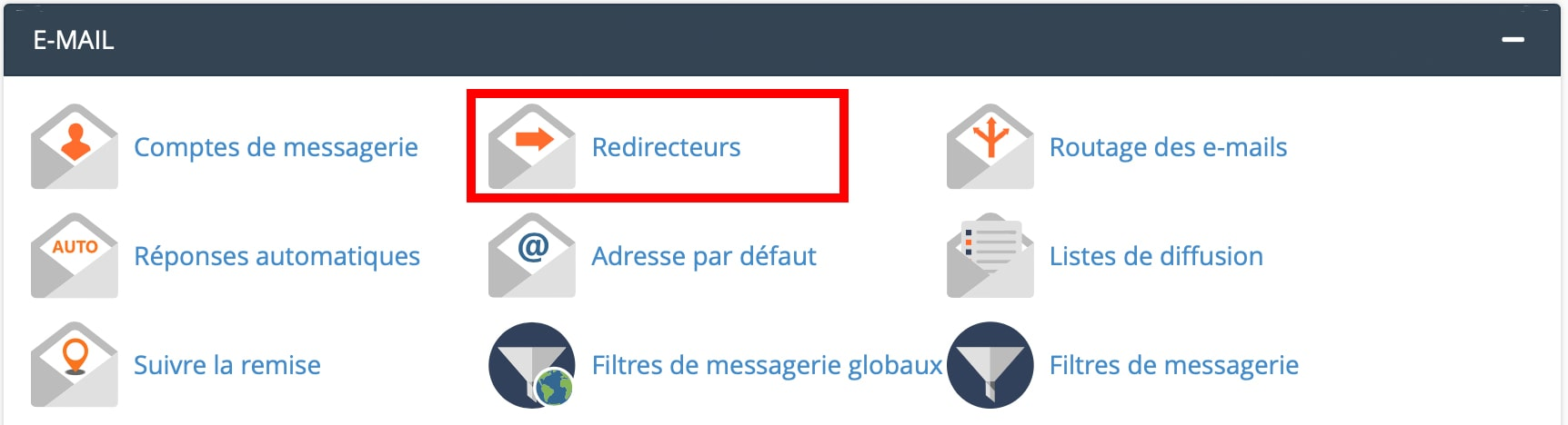 Redirecteurs emailcPanel
