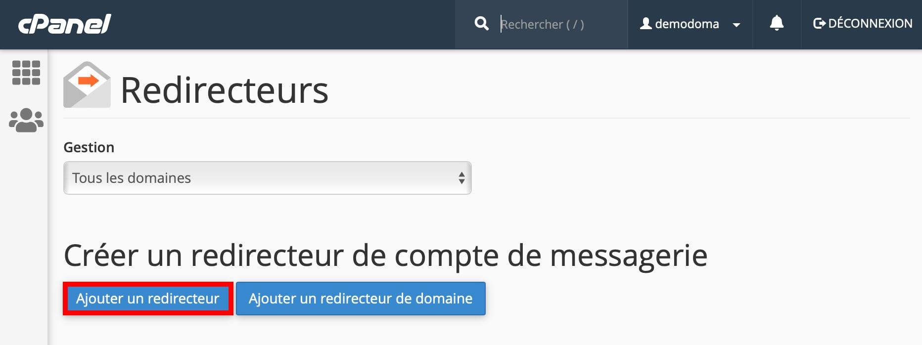 Ajouter un redirecteur emailcPanel
