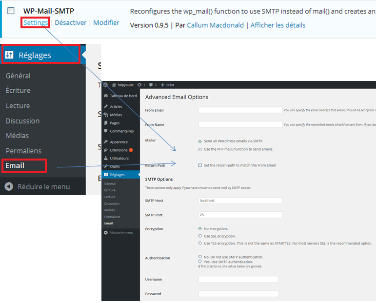 Reglages WP Mail SMTP