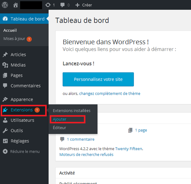 Extension Email WordPress