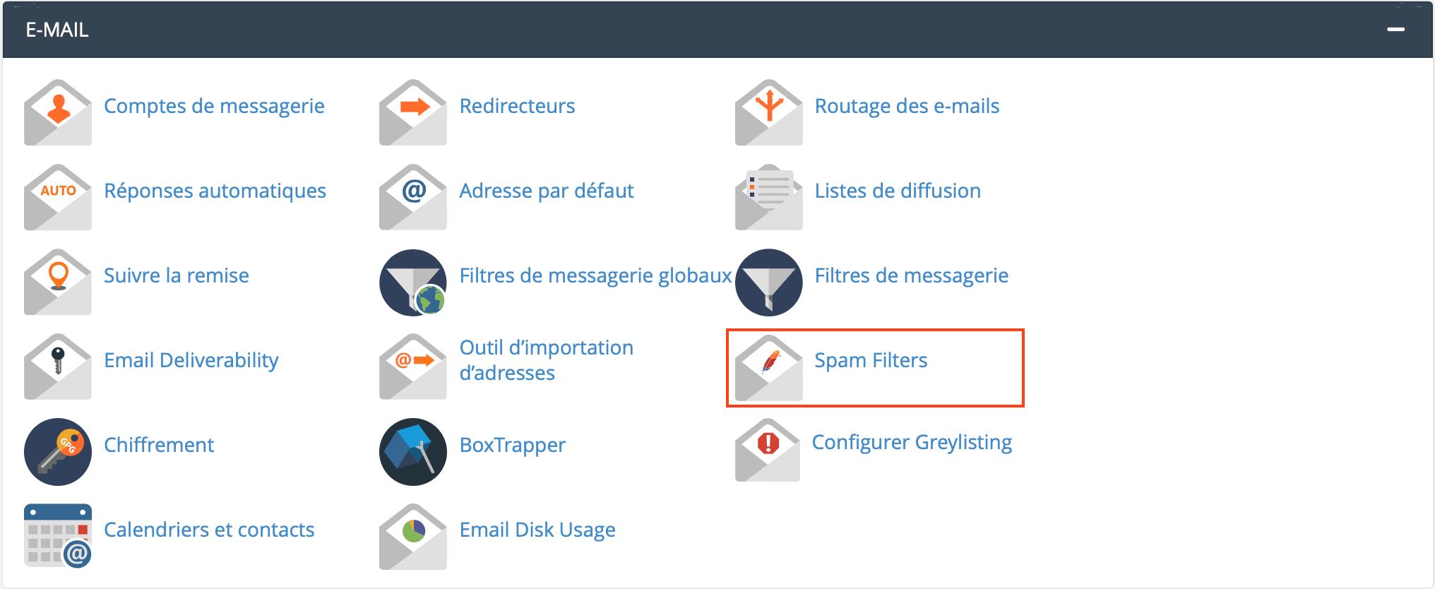 Spam Filters sur cPanel